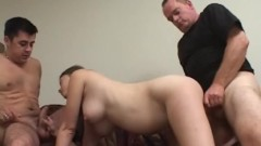 Pregnant Lena with two guys