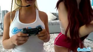 Lesbian Teen f. her Step-sister to eat her pussy after playing video games