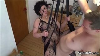 Young step-son fucks his mother in a love swing – German Step-Son Fuck Mother with Stockings in Love Swing